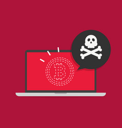Bitcoin hacking disappear on computer screen vector