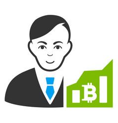 Bitcoin trader icon vector