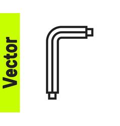 Black line tool allen keys icon isolated on white vector