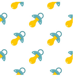 Blue baby pacifier pattern seamless vector