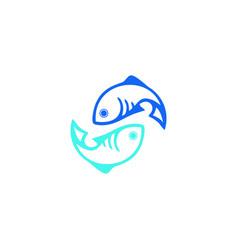 blue fish logo vector image
