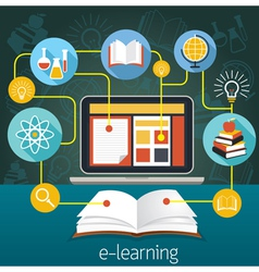 Book and Laptop with E-Learning Icons vector image