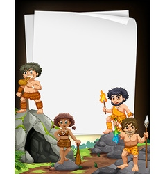 Border design with cavemen living at the cave vector image
