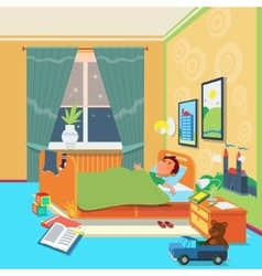 Boy sleep in children room vector image