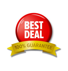 bright red button best deal - 100 guarantee vector image