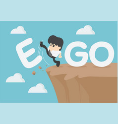 Businessman is an egoist with word ego kicked off vector
