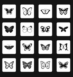 Butterfly icons set squares vector