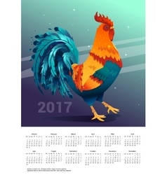 Calendar 2017 Space background with a rooster vector
