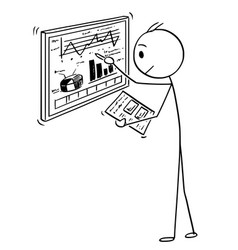 cartoon of businessman working with charts on vector image