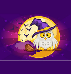 cartoon owl and moon set happy vector image