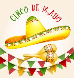cinco de mayo poster with sombrero and maracas vector image