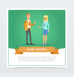 clients consulting at manager bank works banner vector image