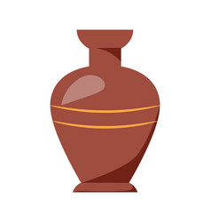 Closeup of clay vase isolated on white background vector