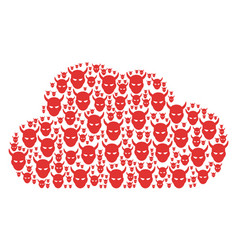 Cloud composition of daemon head icons vector