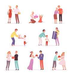 couple giving gifts happy children with gifts vector image