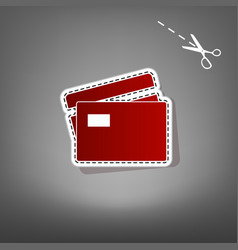Credit card sign red icon with for vector