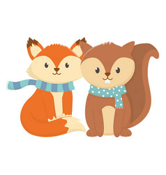 cute fox and squirrel with scarf autumn vector image