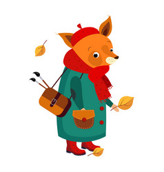 cute fox artist in autumn vector image