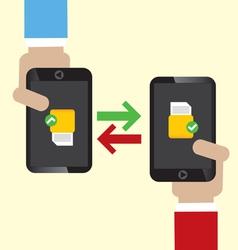 Data Exchange on Mobile vector image