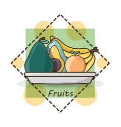 Delicious healthy food with nutrition ingredients vector