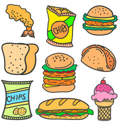 Doodle of food various collection stock vector