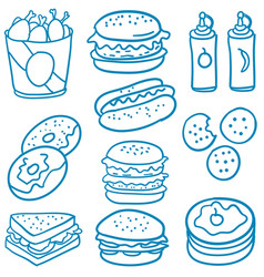 doodle of food various delicious vector image