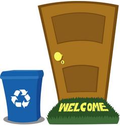 door and recycling bin vector image