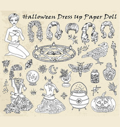 dress up paper doll with halloween witch costumes vector image