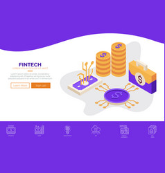 fintech financial technology web design template vector image