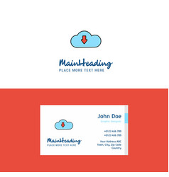 flat downloading logo and visiting card template vector image