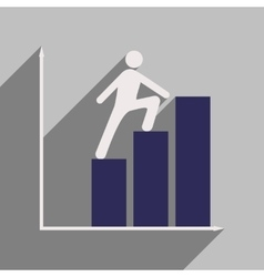 Flat with shadow icon man climbs on schedule vector