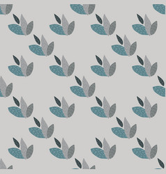 Floral leaves seamless pattern with grey vector