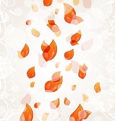 Flying autumn orange leaves background vector image