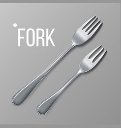 fork silver metal fork top view vector image