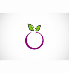 fruit organic leaf logo vector image