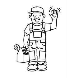 Funny plumber or repairman with the tools vector