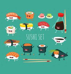 Funny sushi set bottle of sake sushi rice soy vector