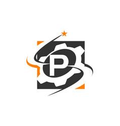Gear solution logo letter p vector