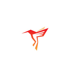 Geometric orange hummingbird logo vector