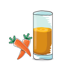 glass of carrot juice and fresh carrots vector image