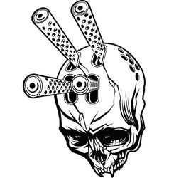 Gun skull vector