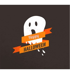 Halloween cute poster with ghost vector