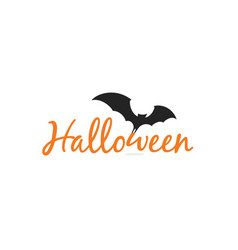 halloween elegant lettering with black silhouette vector image