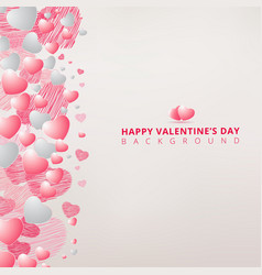 hand drawing hearts white and pink color on white vector image