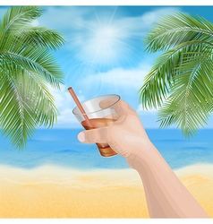 hand holding a glass on beach vector image