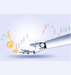 hand robot stock market forex trading graph vector image