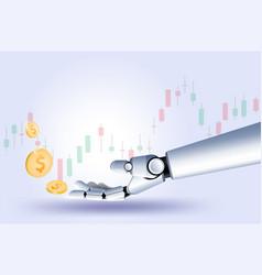 Hand robot stock market forex trading graph vector