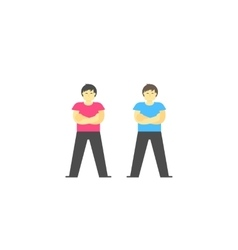 Happy standing man with folded arms vector