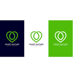 heart nature logo design vector image