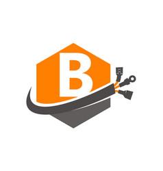 Hexagon global electricity letter b vector